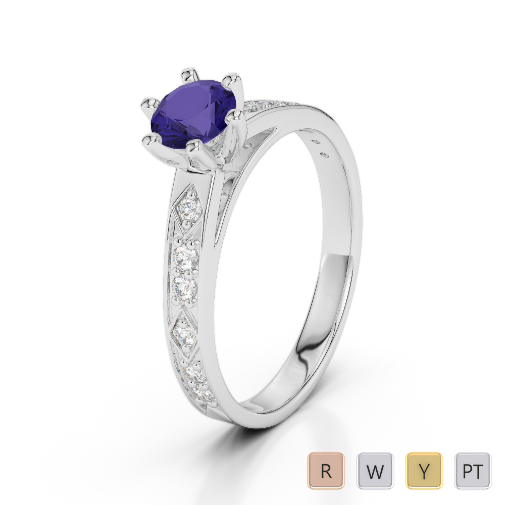 Gold / Platinum Round Cut Tanzanite and Diamond Engagement Ring AGDR-1178