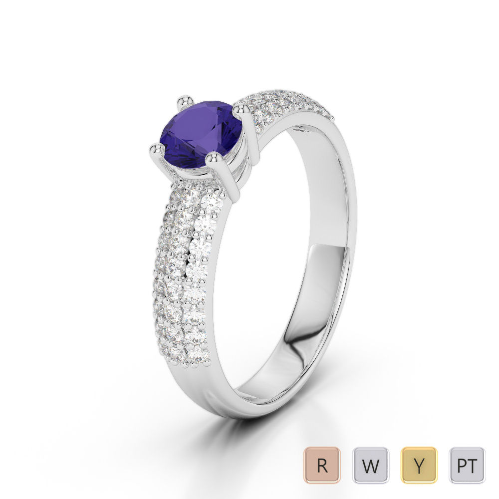 Gold / Platinum Round Cut Tanzanite and Diamond Engagement Ring AGDR-1179