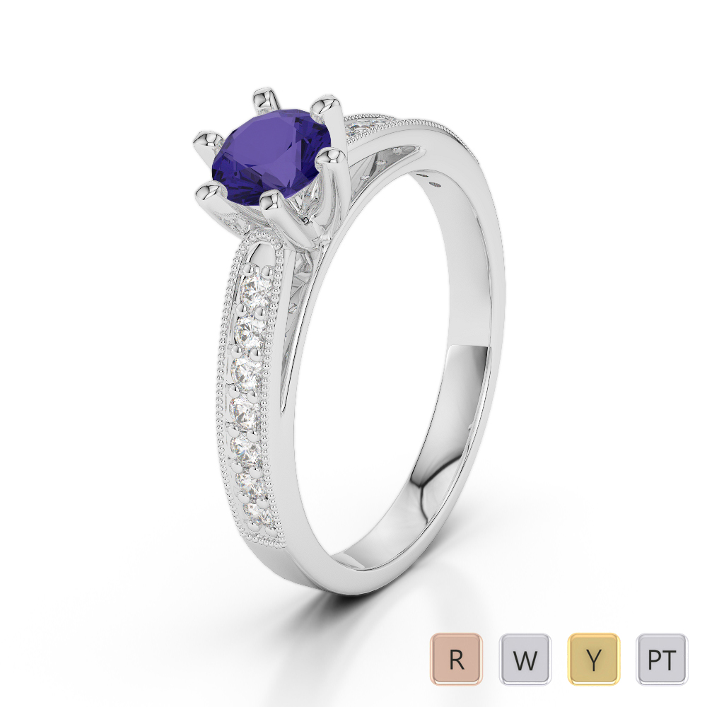 Gold / Platinum Round Cut Tanzanite and Diamond Engagement Ring AGDR-1181