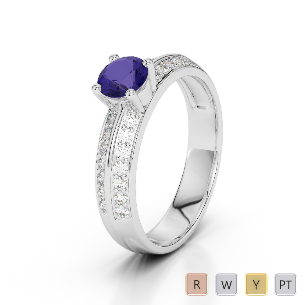 Gold / Platinum Round Cut Tanzanite and Diamond Engagement Ring AGDR-1183