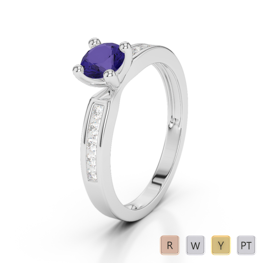 Gold / Platinum Round Cut Tanzanite and Diamond Engagement Ring AGDR-1184