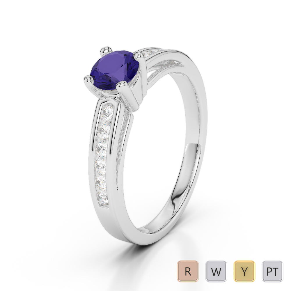 Gold / Platinum Round Cut Tanzanite and Diamond Engagement Ring AGDR-1186