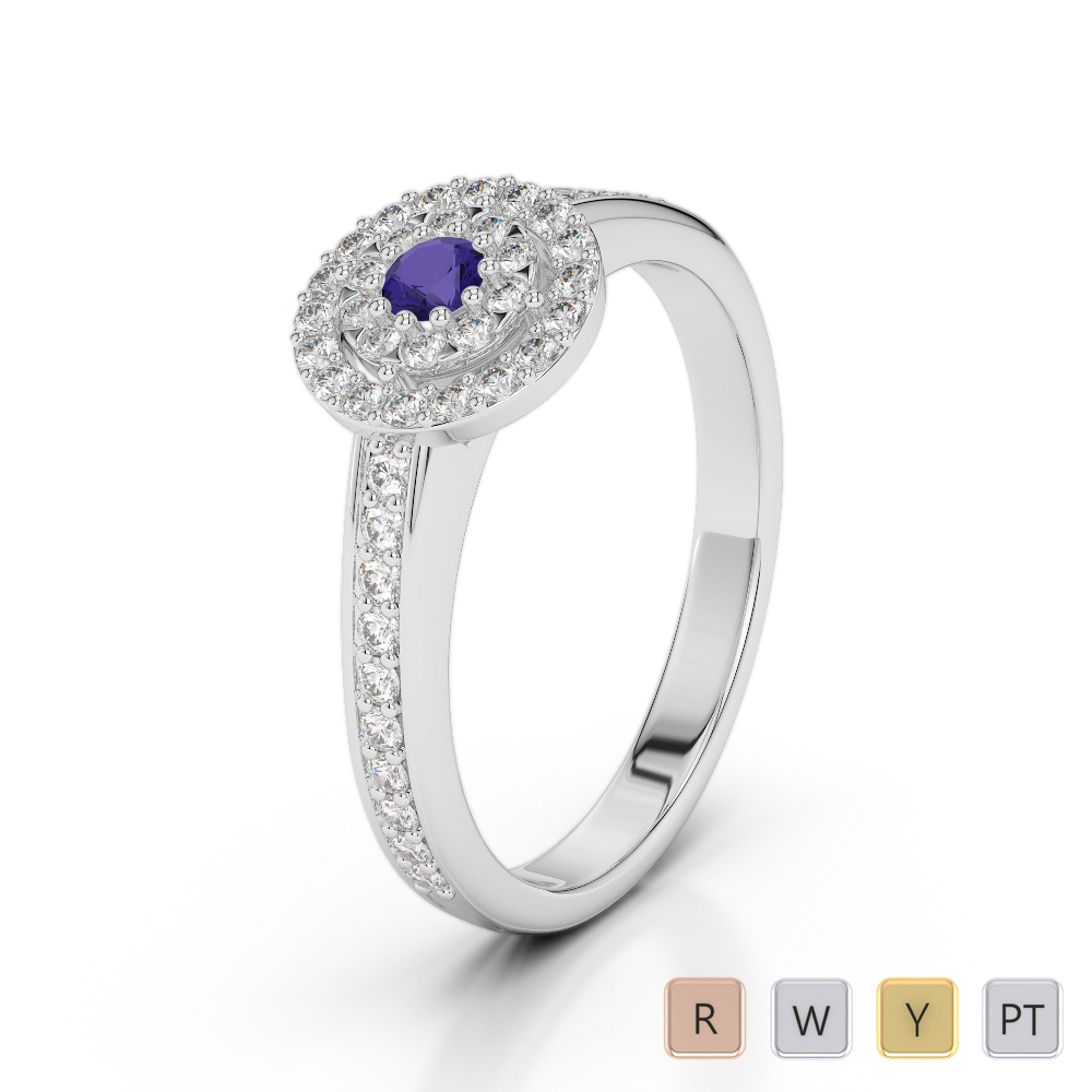 Gold / Platinum Round Cut Tanzanite and Diamond Engagement Ring AGDR-1188