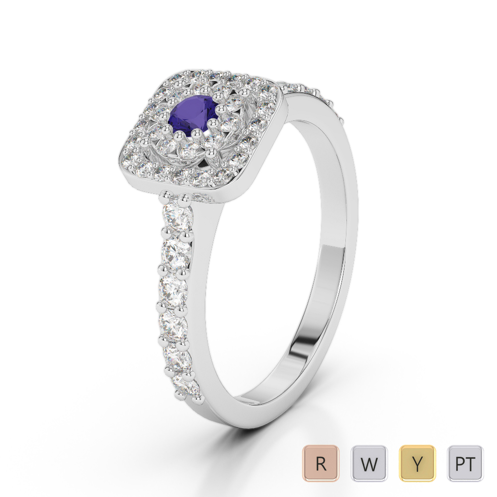 Gold / Platinum Round Cut Tanzanite and Diamond Engagement Ring AGDR-1189