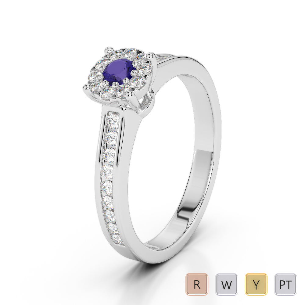 Gold / Platinum Round Cut Tanzanite and Diamond Engagement Ring AGDR-1190