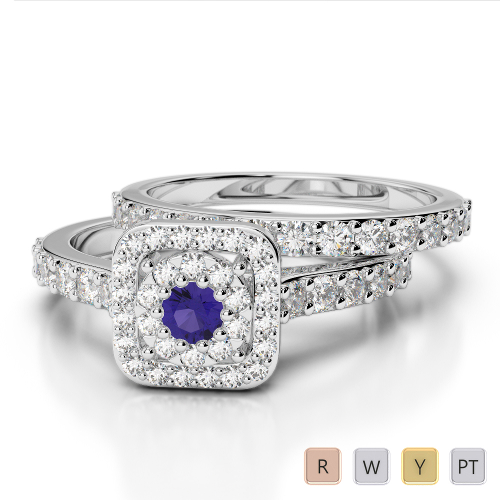 Gold / Platinum Round cut Tanzanite and Diamond Bridal Set Ring AGDR-1246