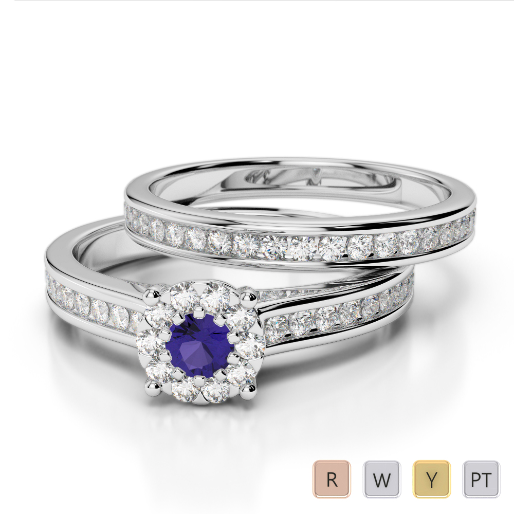 Gold / Platinum Round cut Tanzanite and Diamond Bridal Set Ring AGDR-1339