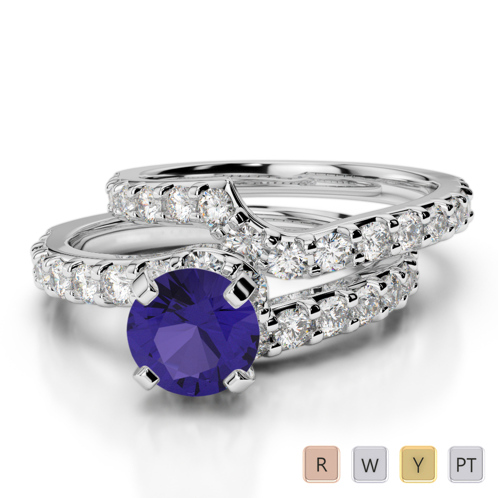 Gold / Platinum Round cut Tanzanite and Diamond Bridal Set Ring AGDR-2003