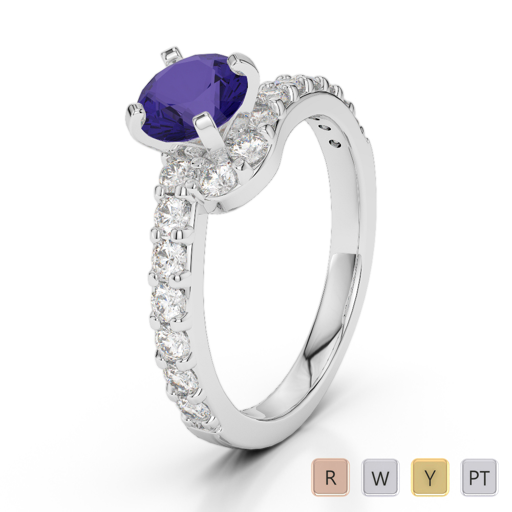 Gold / Platinum Round Cut Tanzanite and Diamond Engagement Ring AGDR-2004