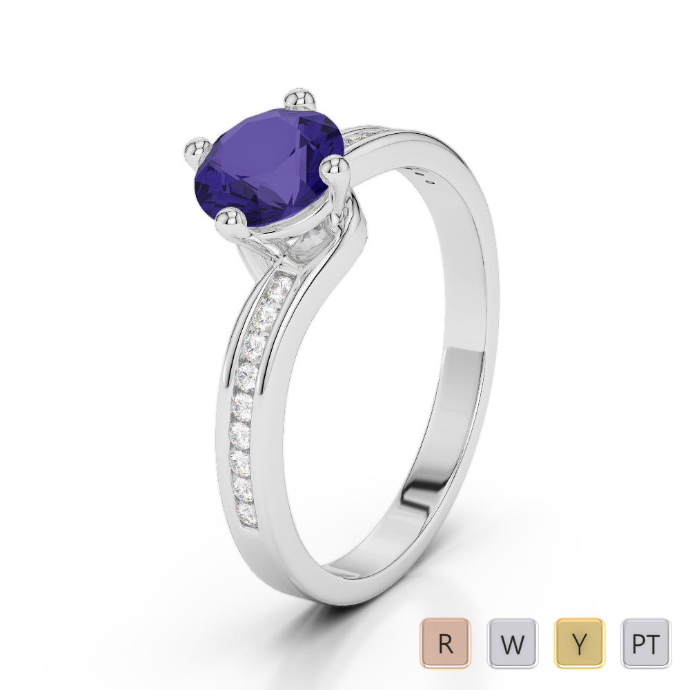Gold / Platinum Round Cut Tanzanite and Diamond Engagement Ring AGDR-2006