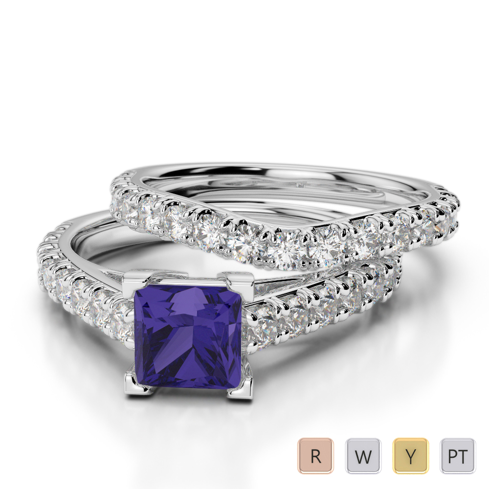 Gold / Platinum Round and Princess cut Tanzanite and Diamond Bridal Set Ring AGDR-2007