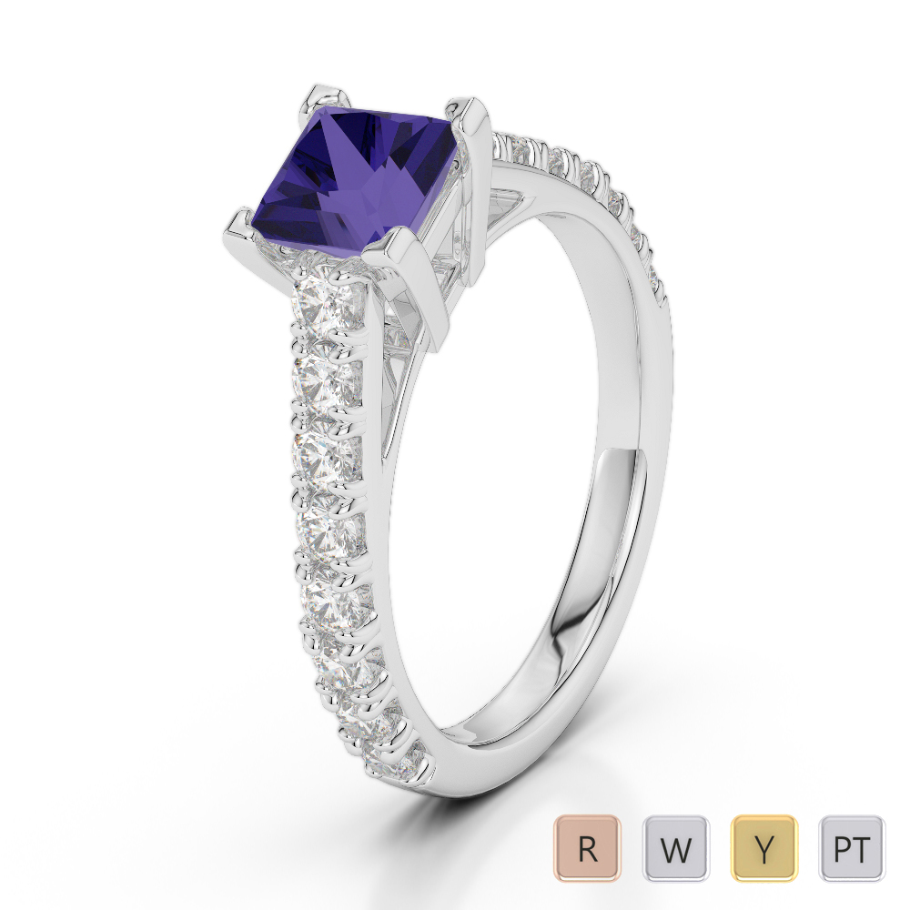 Gold / Platinum Round and Princess Cut Tanzanite and Diamond Engagement Ring AGDR-2008