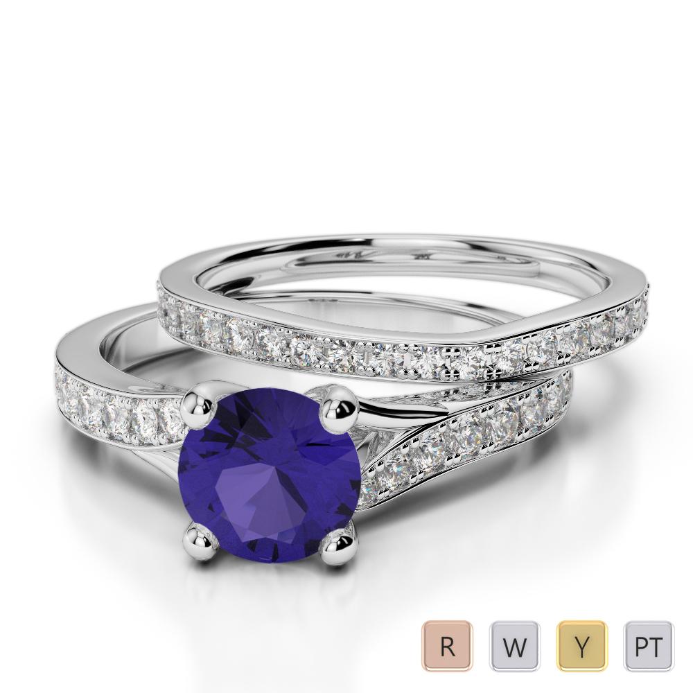 Gold / Platinum Round cut Tanzanite and Diamond Bridal Set Ring AGDR-2011