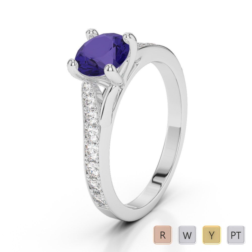 Gold / Platinum Round Cut Tanzanite and Diamond Engagement Ring AGDR-2012