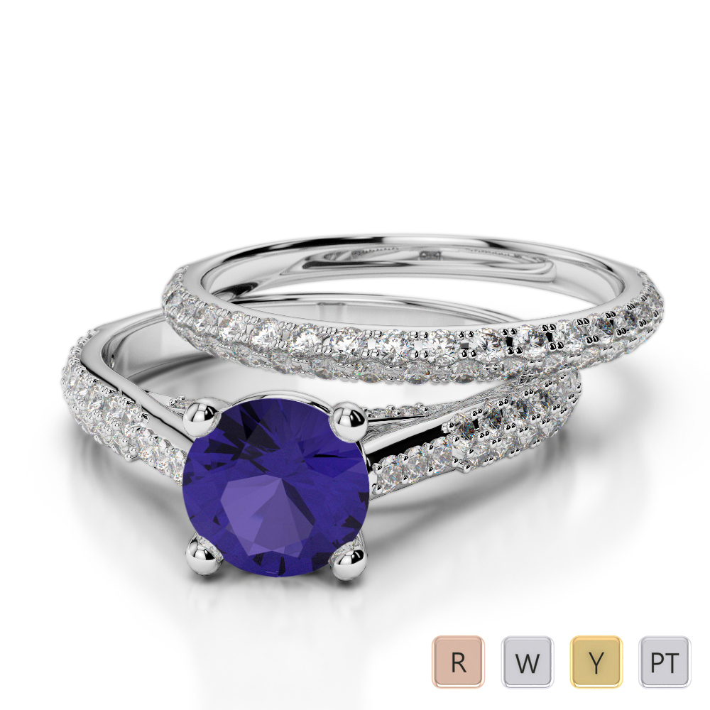 Gold / Platinum Round cut Tanzanite and Diamond Bridal Set Ring AGDR-2013