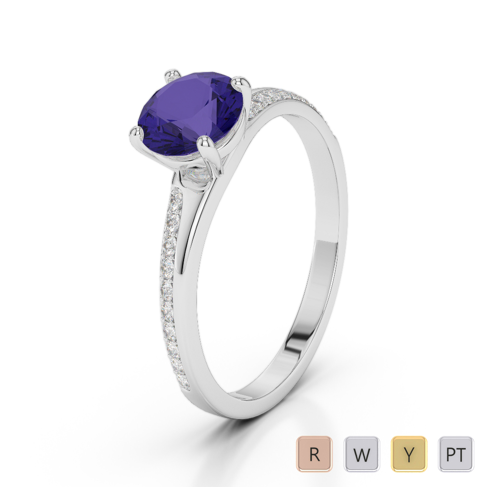 Gold / Platinum Round Cut Tanzanite and Diamond Engagement Ring AGDR-2016