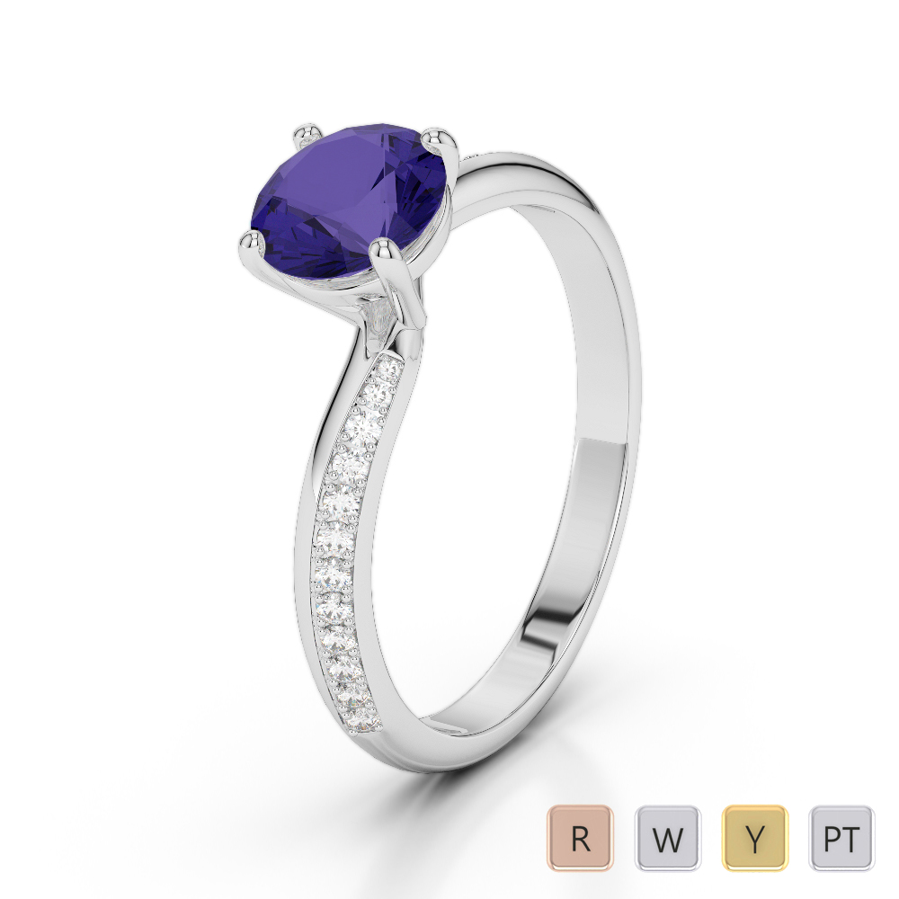 Gold / Platinum Round Cut Tanzanite and Diamond Engagement Ring AGDR-2018