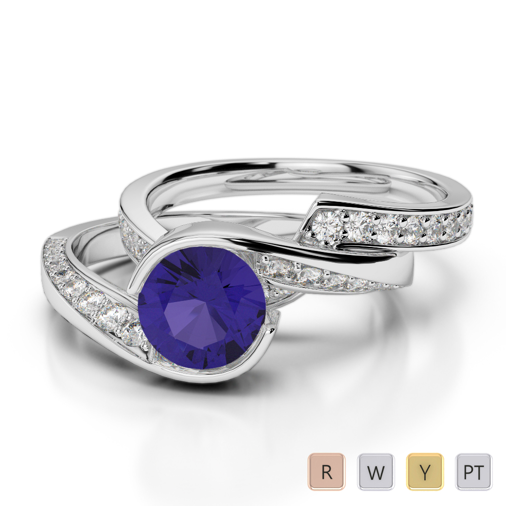 Gold / Platinum Round cut Tanzanite and Diamond Bridal Set Ring AGDR-2019