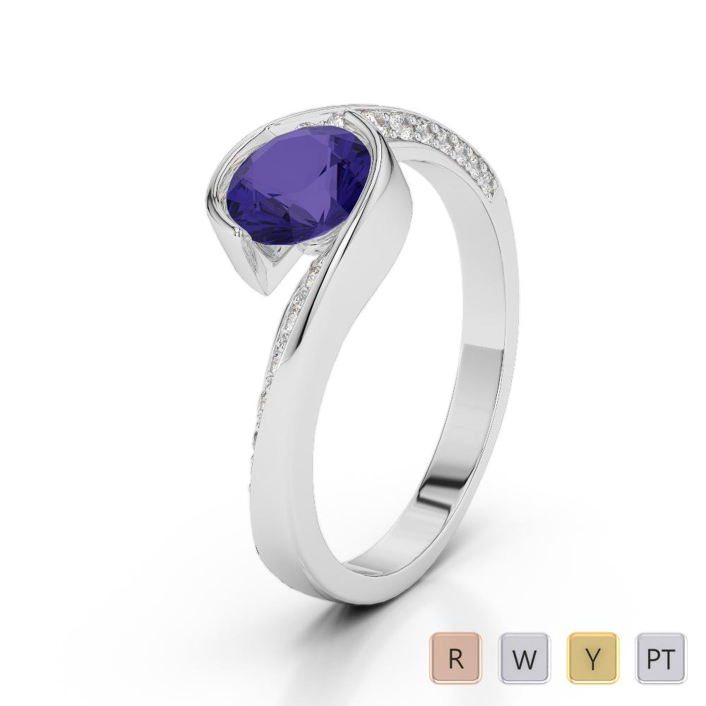 Gold / Platinum Round Cut Tanzanite and Diamond Engagement Ring AGDR-2020