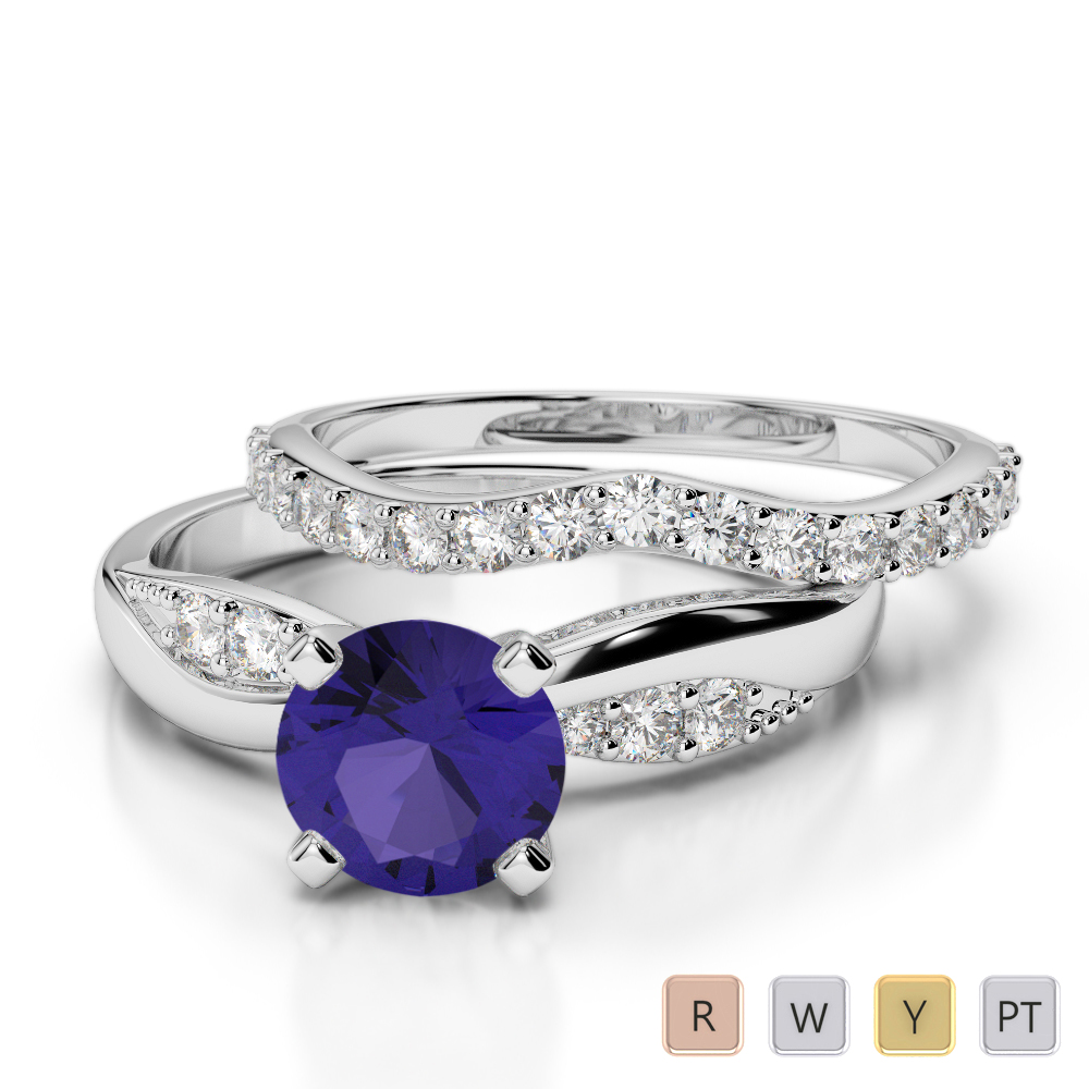 Gold / Platinum Round cut Tanzanite and Diamond Bridal Set Ring AGDR-2023