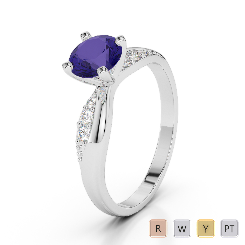 Gold / Platinum Round Cut Tanzanite and Diamond Engagement Ring AGDR-2024