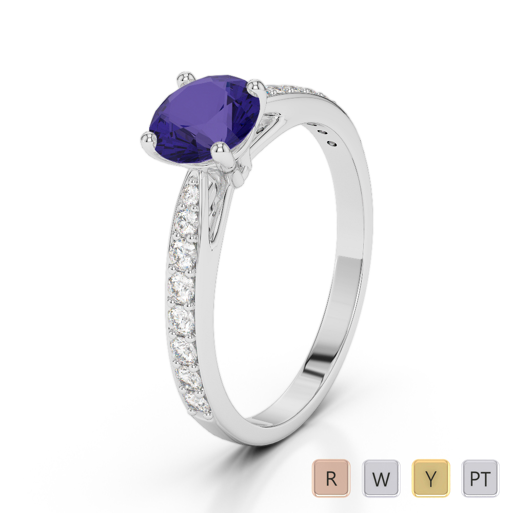 Gold / Platinum Round Cut Tanzanite and Diamond Engagement Ring AGDR-2032
