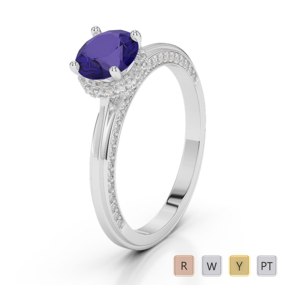 Gold / Platinum Round Cut Tanzanite and Diamond Engagement Ring AGDR-2034