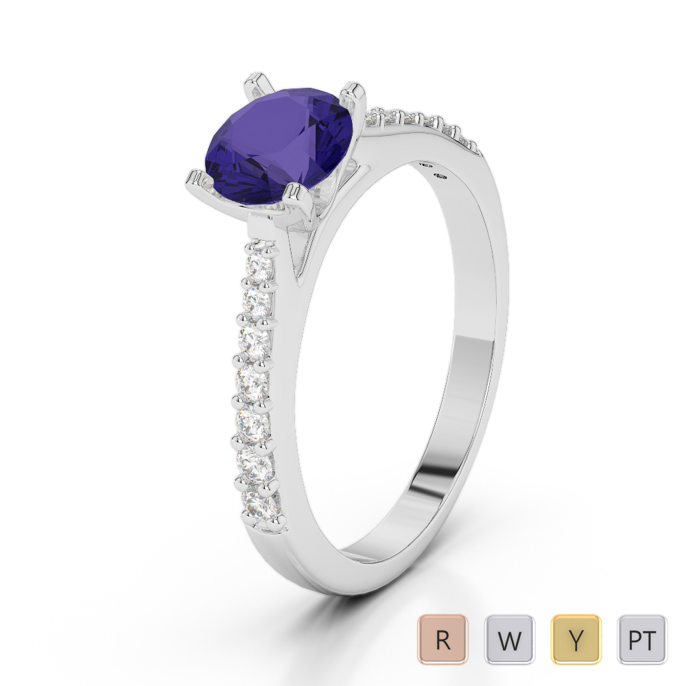 Gold / Platinum Round Cut Tanzanite and Diamond Engagement Ring AGDR-2040