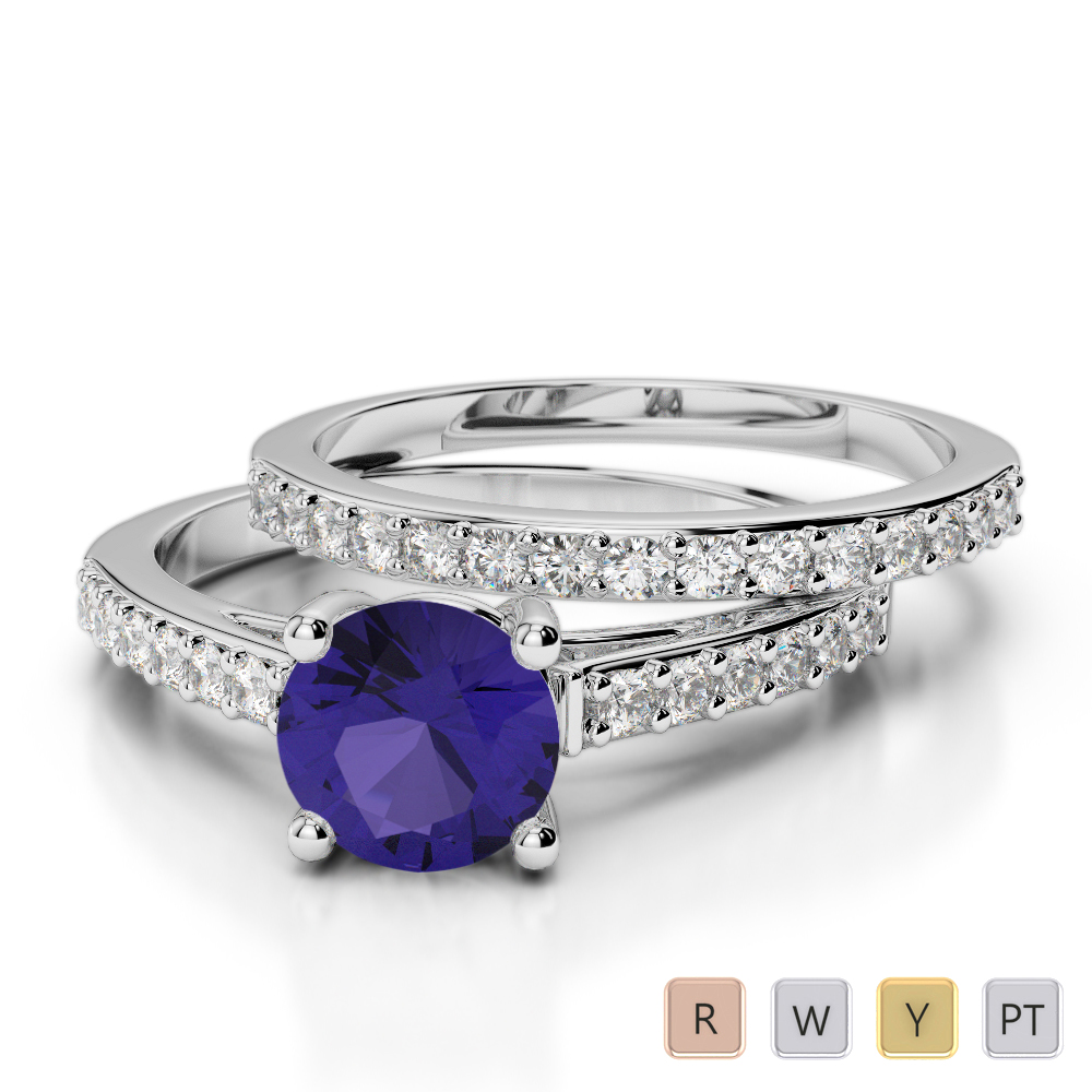 Gold / Platinum Round cut Tanzanite and Diamond Bridal Set Ring AGDR-2041