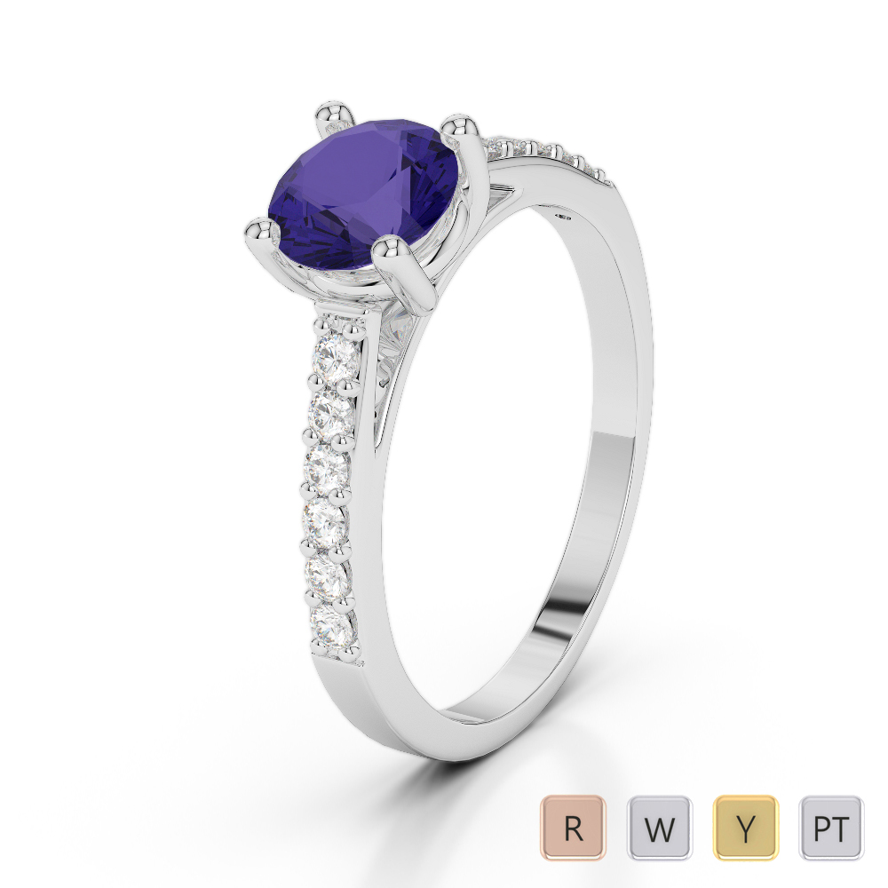 Gold / Platinum Round Cut Tanzanite and Diamond Engagement Ring AGDR-2042