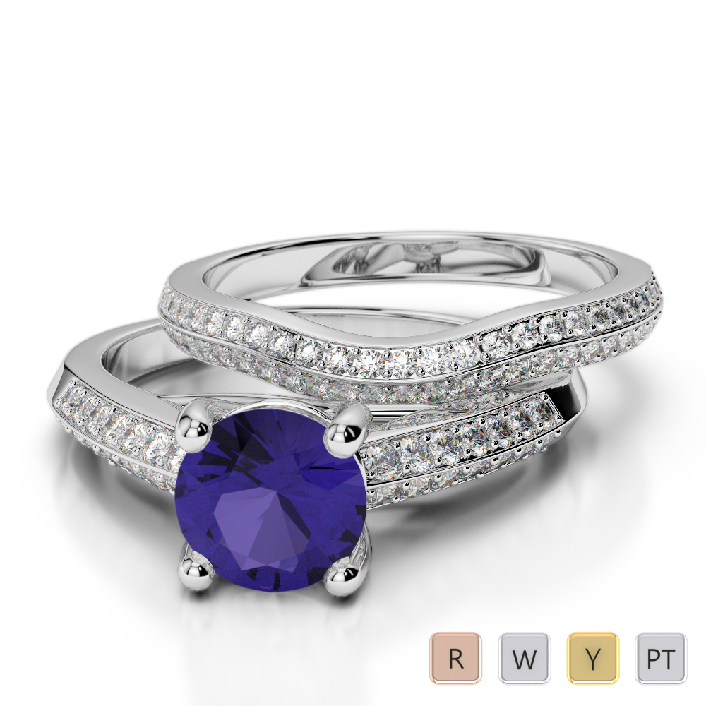 Gold / Platinum Round cut Tanzanite and Diamond Bridal Set Ring AGDR-2043