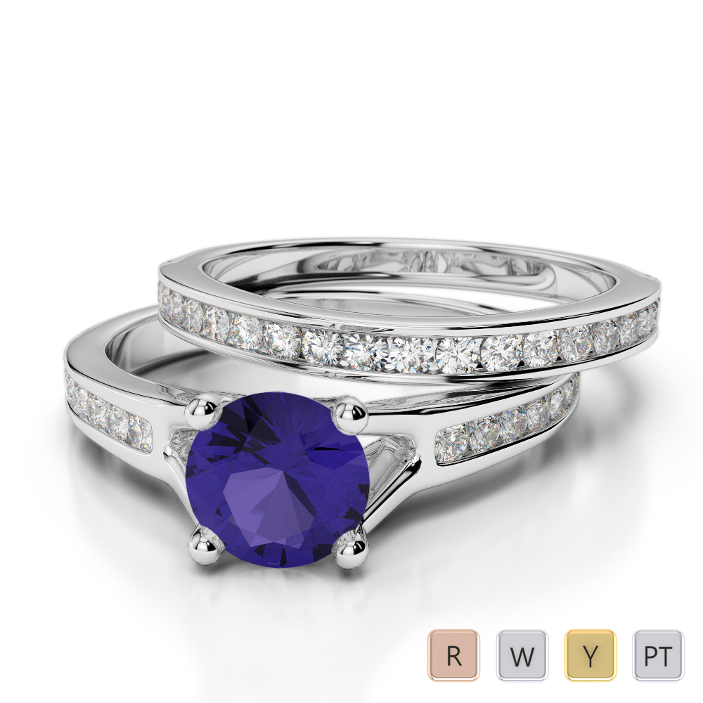 Gold / Platinum Round cut Tanzanite and Diamond Bridal Set Ring AGDR-2047