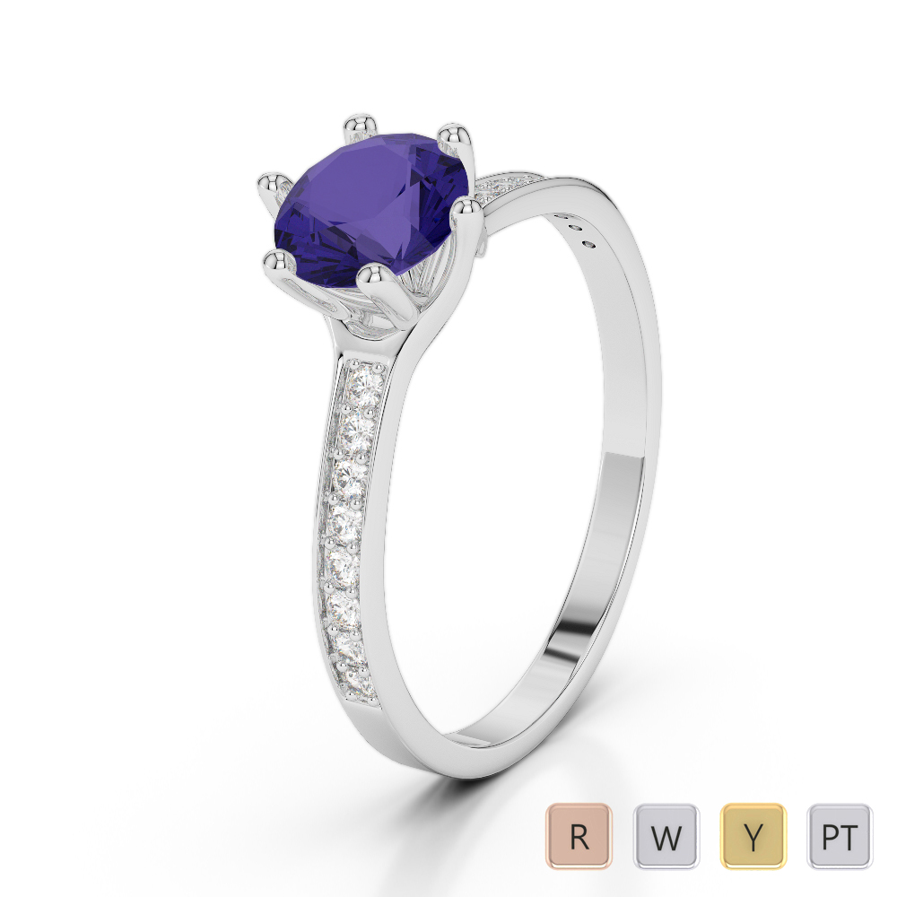 Gold / Platinum Round Cut Tanzanite and Diamond Engagement Ring AGDR-2050