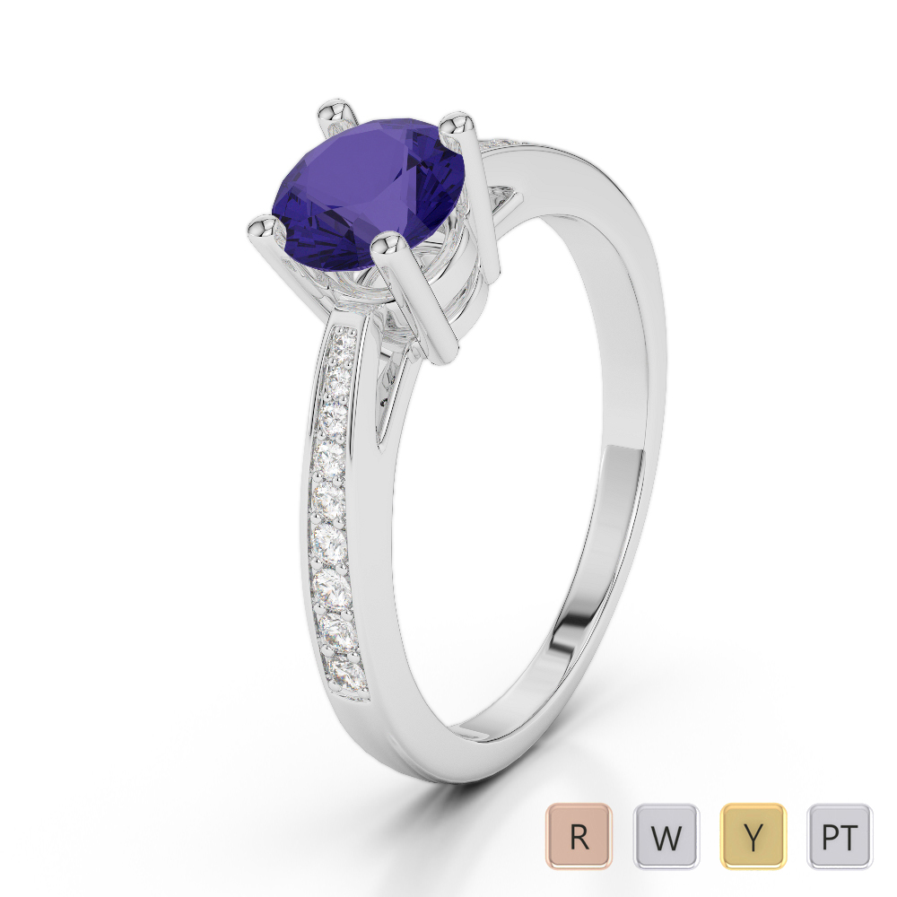 Gold / Platinum Round Cut Tanzanite and Diamond Engagement Ring AGDR-2052