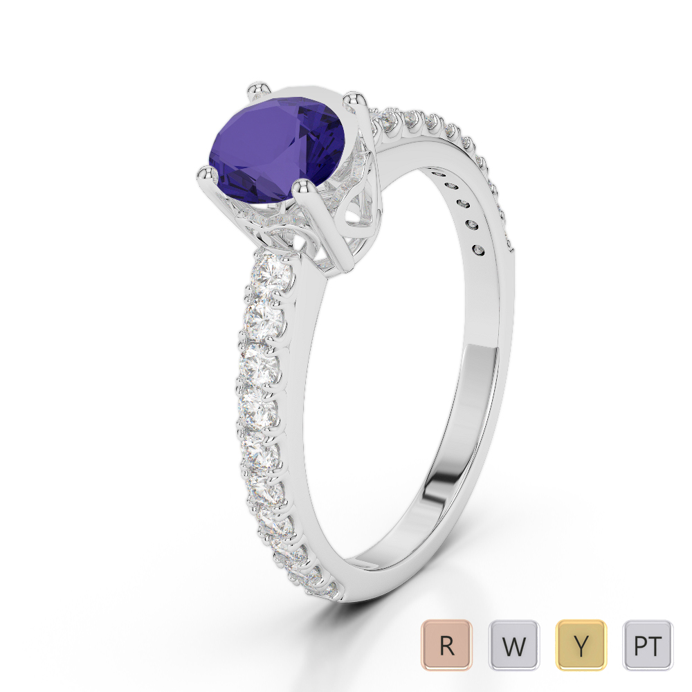 Gold / Platinum Round Cut Tanzanite and Diamond Engagement Ring AGDR-2056