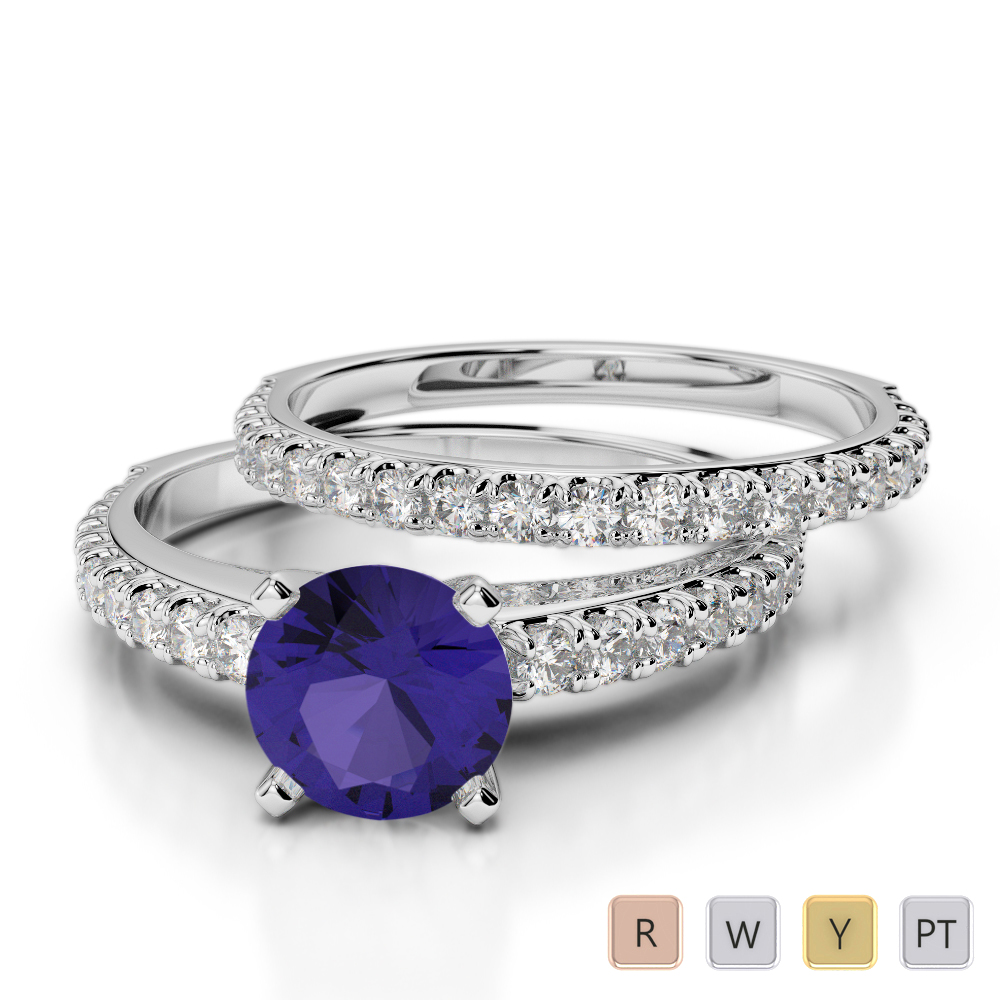 Gold / Platinum Round cut Tanzanite and Diamond Bridal Set Ring AGDR-2057
