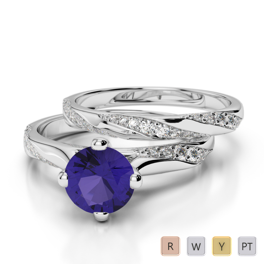 Gold / Platinum Round cut Tanzanite and Diamond Bridal Set Ring AGDR-2059