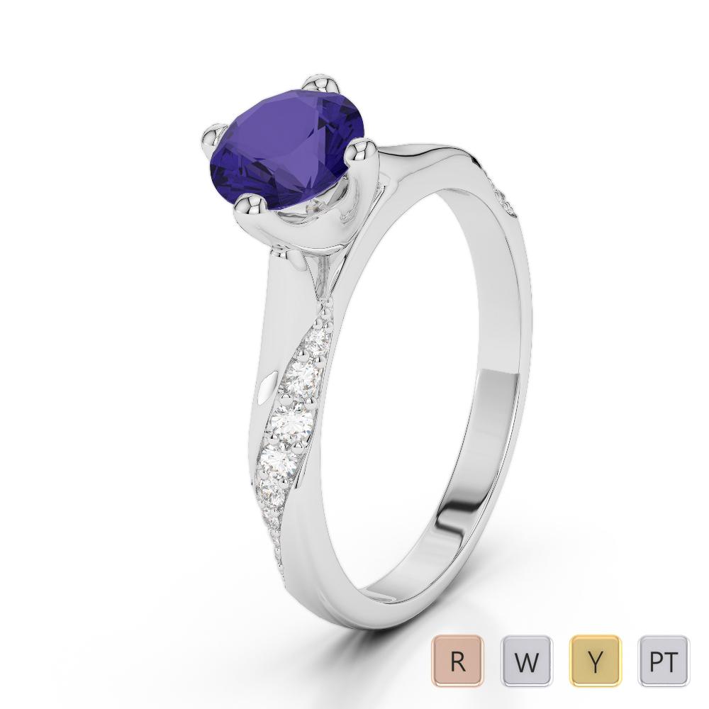 Gold / Platinum Round Cut Tanzanite and Diamond Engagement Ring AGDR-2060