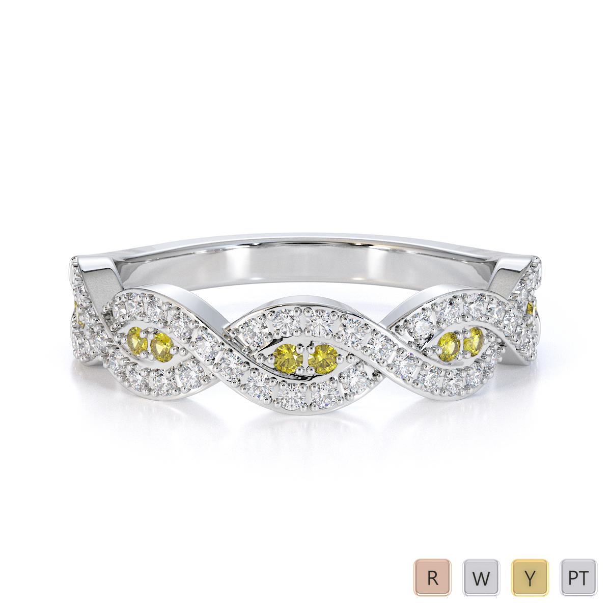Gold / Platinum Yellow Sapphire and Diamond Half Eternity Ring RZ1499