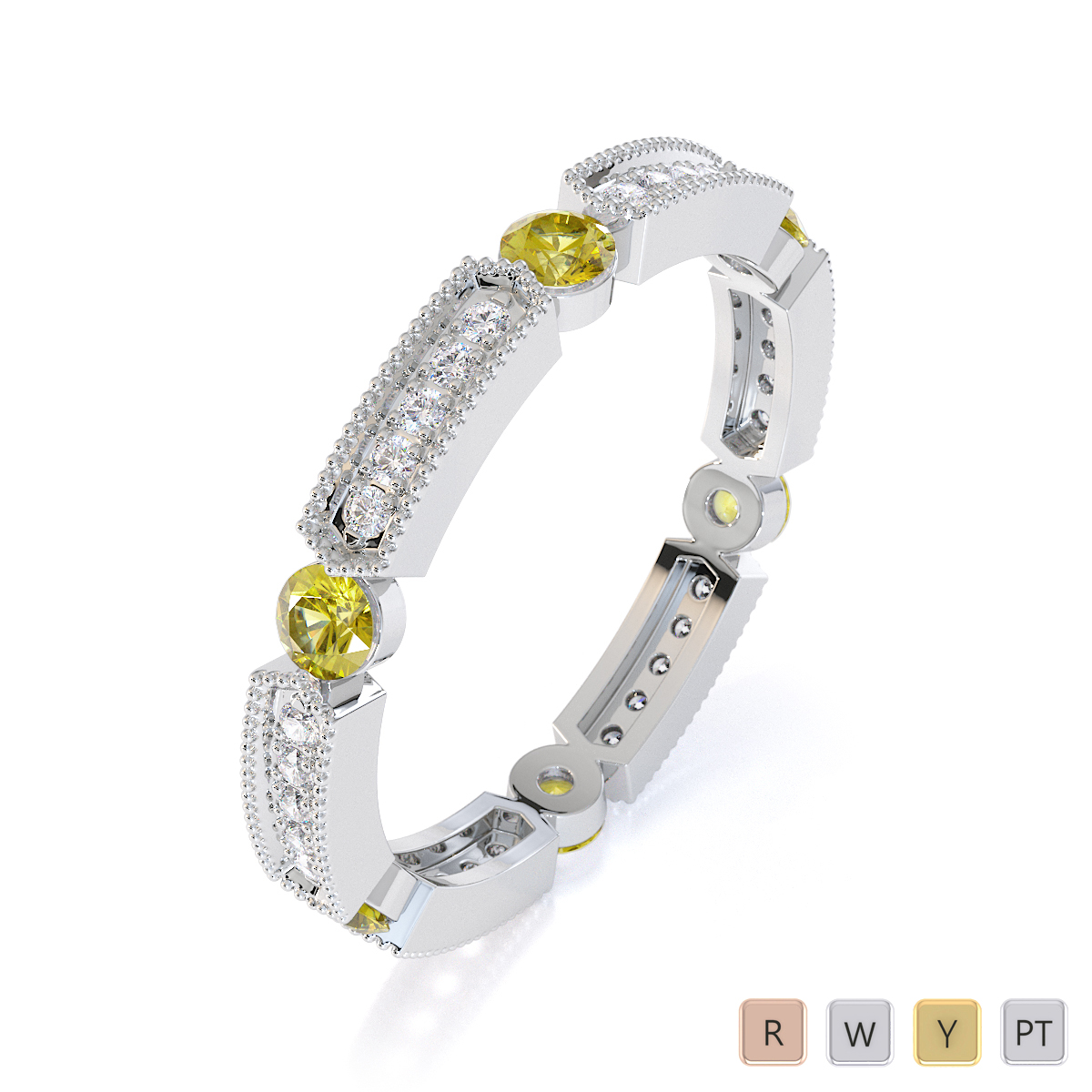 Gold / Platinum Yellow Sapphire and Diamond Full Eternity Ring RZ1500