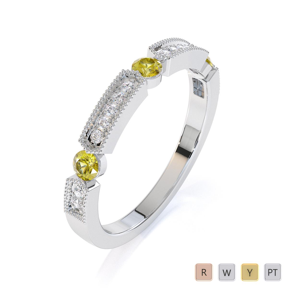 Gold / Platinum Yellow Sapphire and Diamond Half Eternity Ring RZ1501
