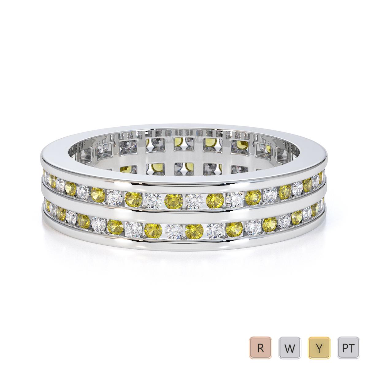 Gold / Platinum Yellow Sapphire and Diamond Full Eternity Ring RZ1502