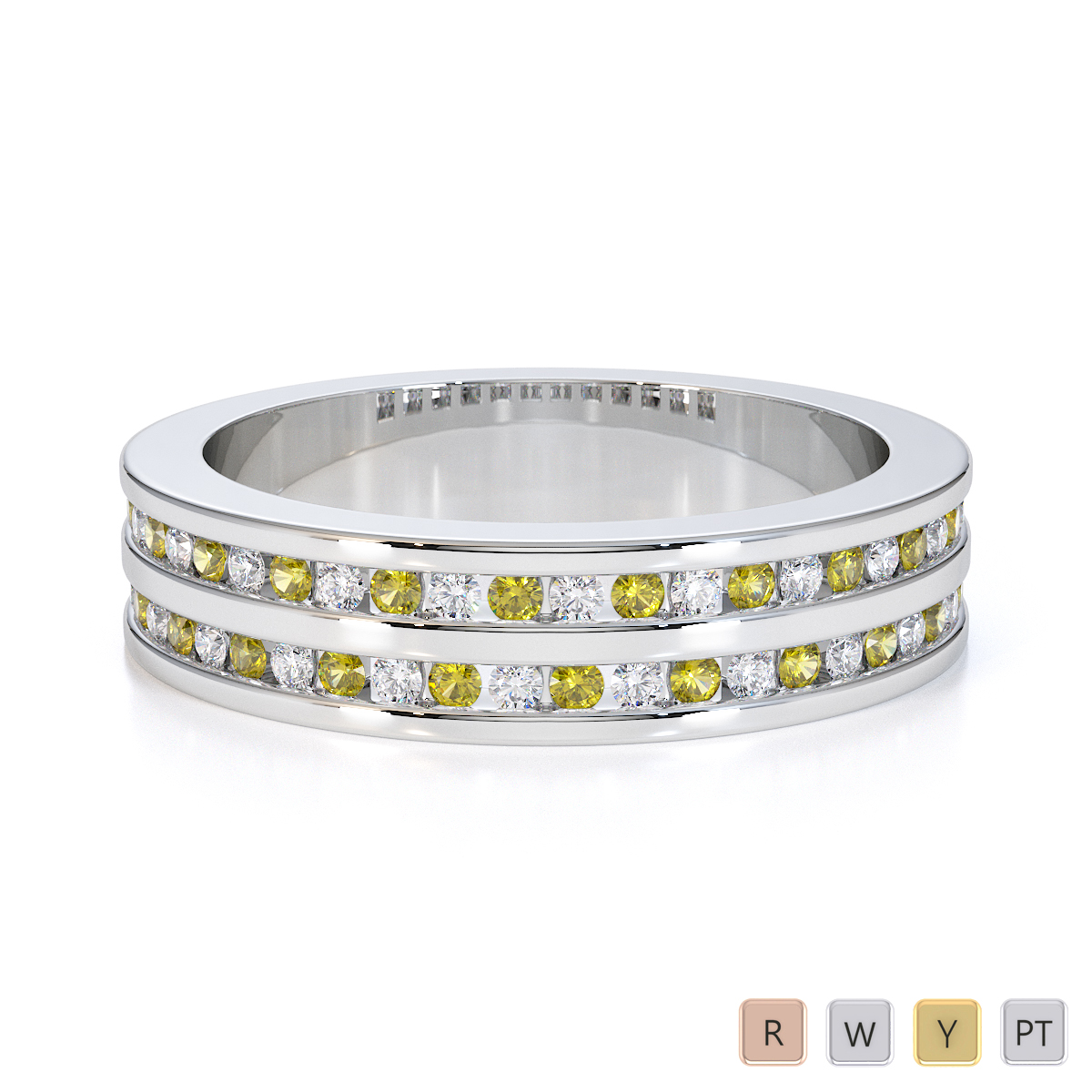 Gold / Platinum Yellow Sapphire and Diamond Half Eternity Ring RZ1503