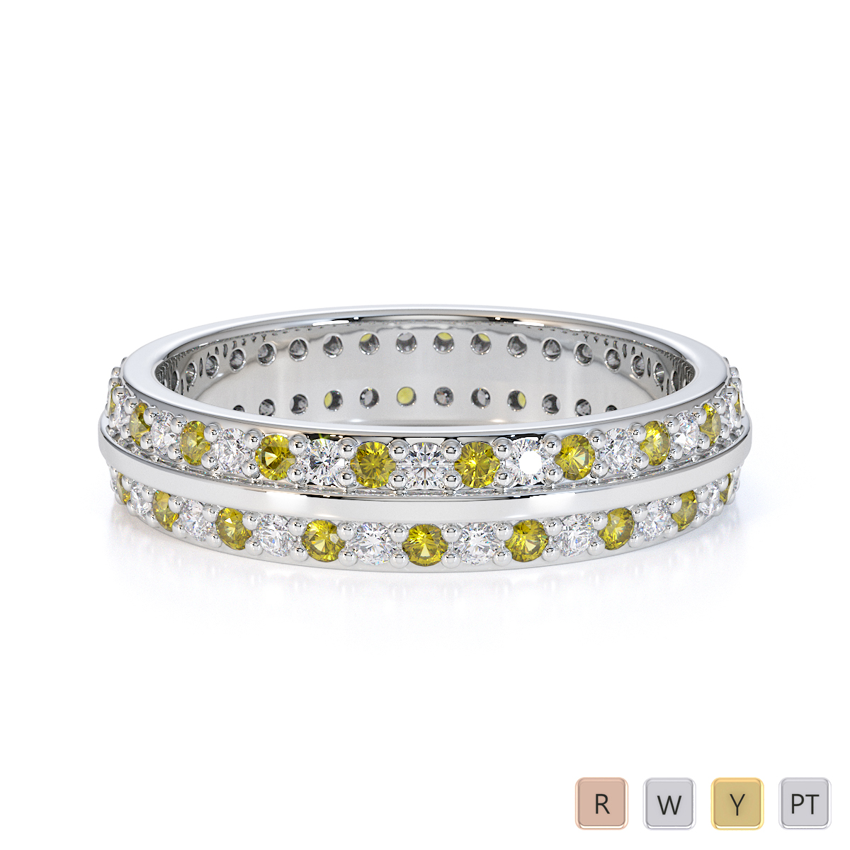 Gold / Platinum Yellow Sapphire and Diamond Full Eternity Ring RZ1504