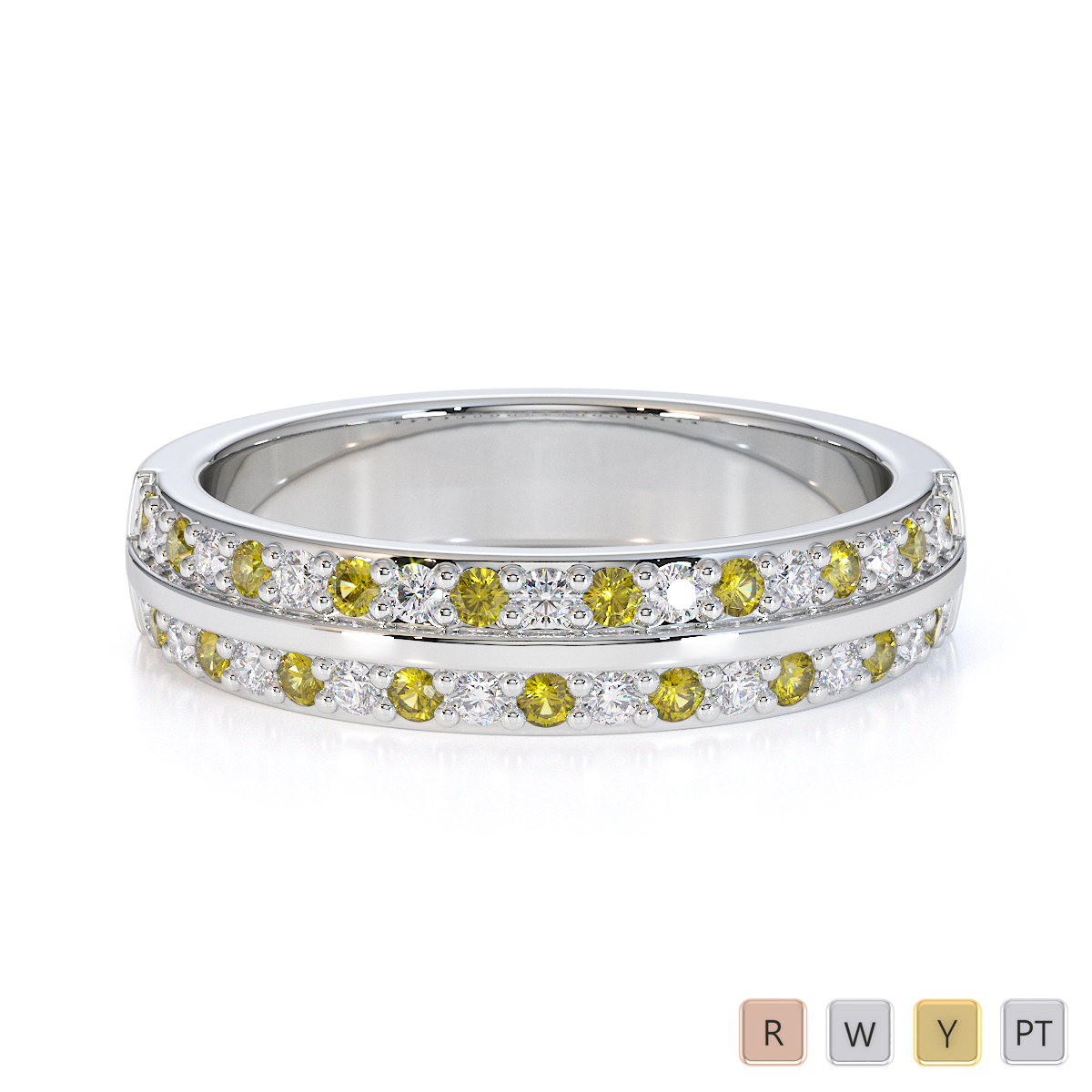 Gold / Platinum Yellow Sapphire and Diamond Half Eternity Ring RZ1505