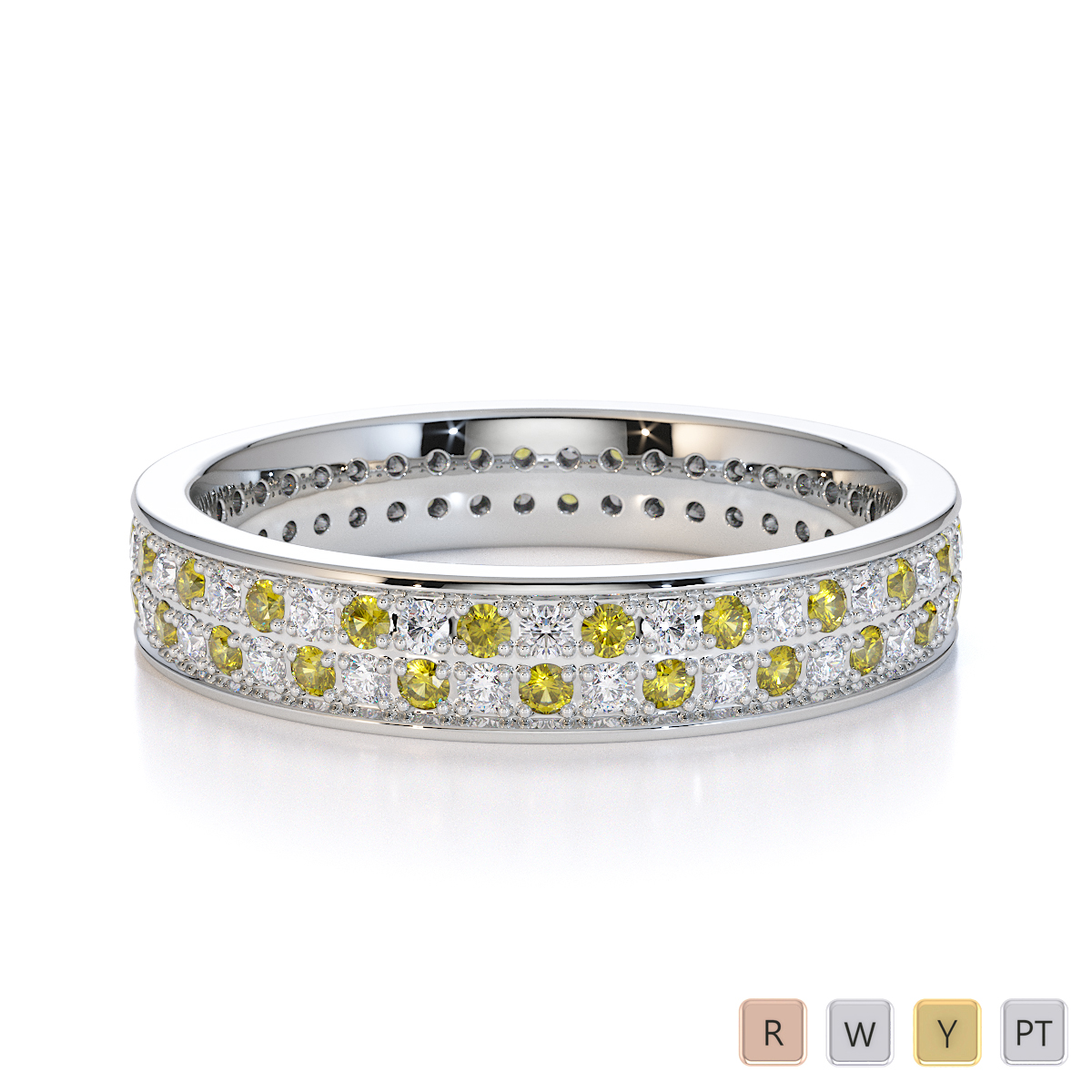 Gold / Platinum Yellow Sapphire and Diamond Full Eternity Ring RZ1506