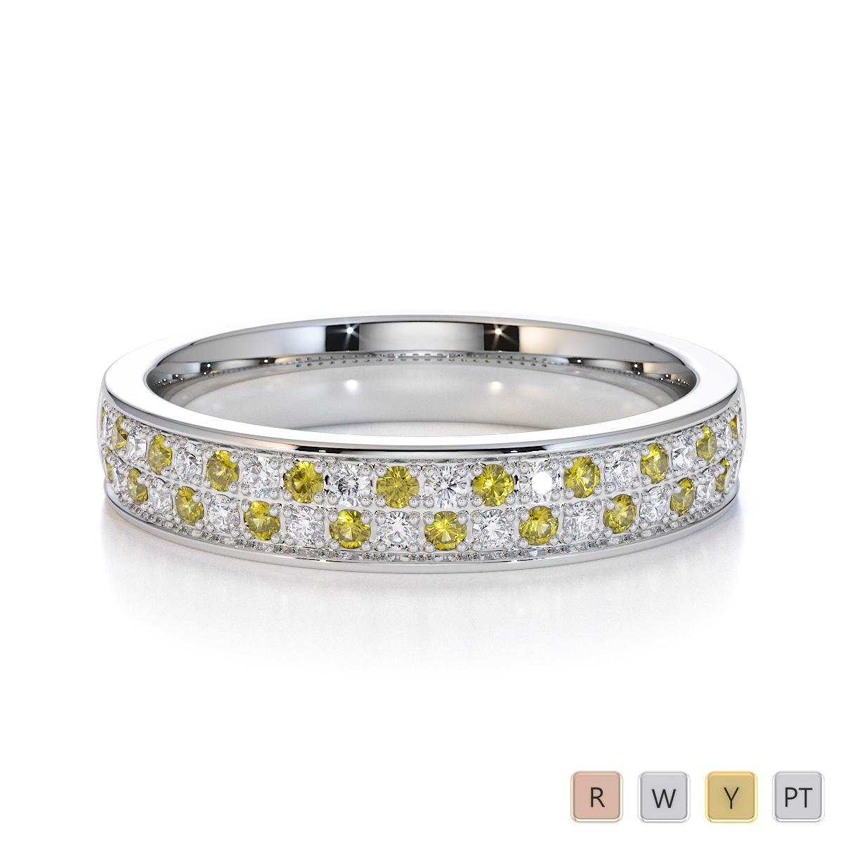 Gold / Platinum Yellow Sapphire and Diamond Half Eternity Ring RZ1507