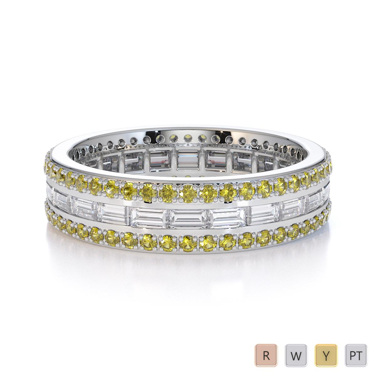 Gold / Platinum Yellow Sapphire and Diamond Full Eternity Ring RZ1508