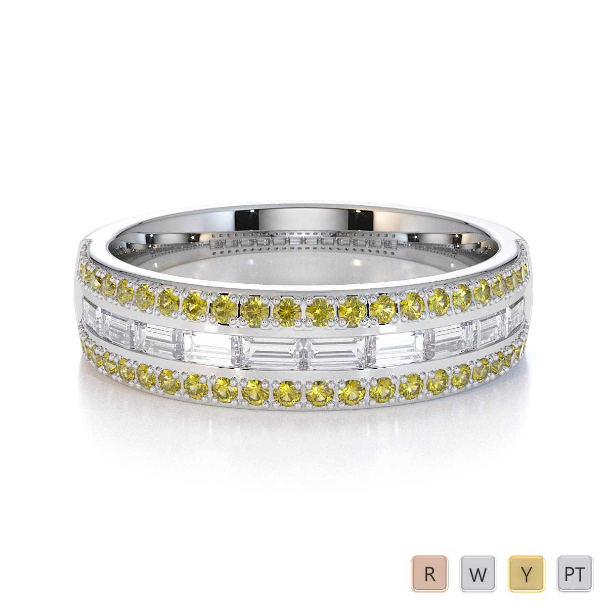 Gold / Platinum Yellow Sapphire and Diamond Half Eternity Ring RZ1509