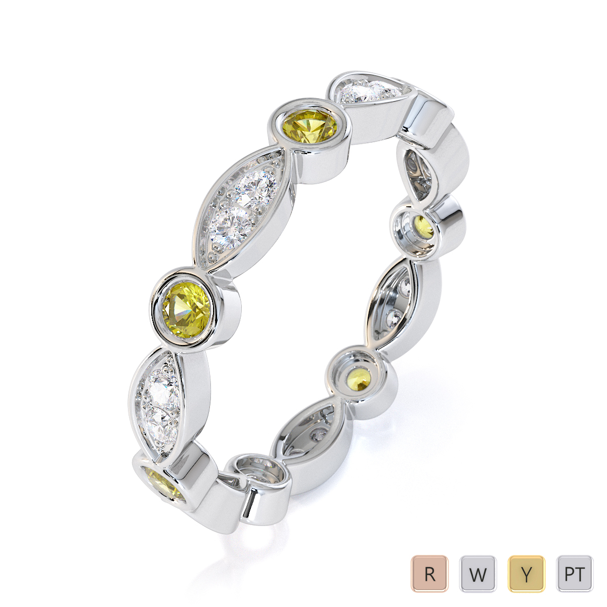 Gold / Platinum Yellow Sapphire and Diamond Full Eternity Ring RZ1510